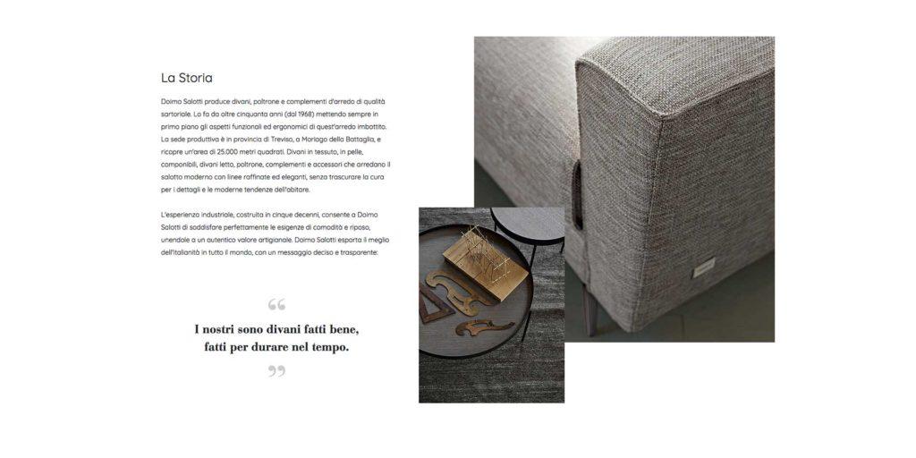 storytelling azienda di divani con bracciolo divano, tavolino e parole.