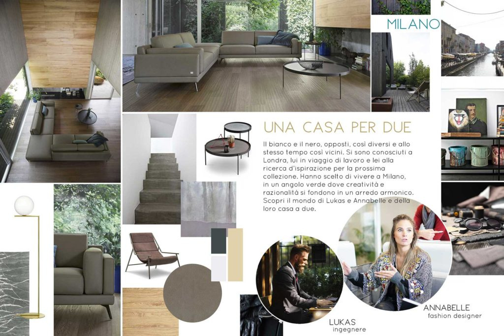 moodboard per storytelling aziendale: due soggiorno moderno con divano, lampada bronzo, uomo e donna al lavoro.