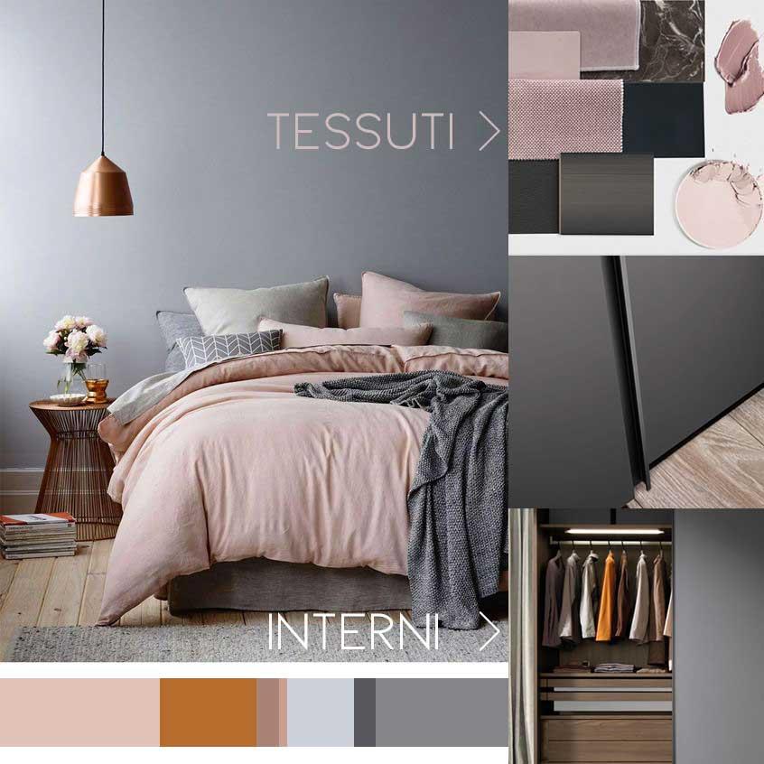 infografica per social: letto con lenzuoli rosa, trucchi rosa, anta armadio grigio e interno armadio con abiti.