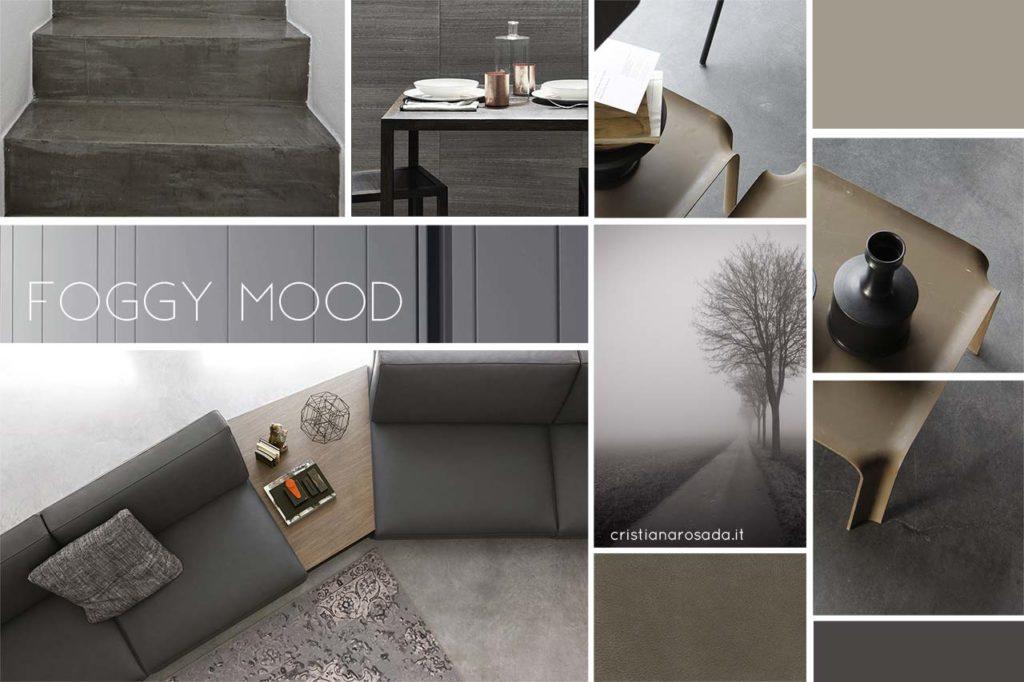 moodboard creativa toni del grigio per arredamento
