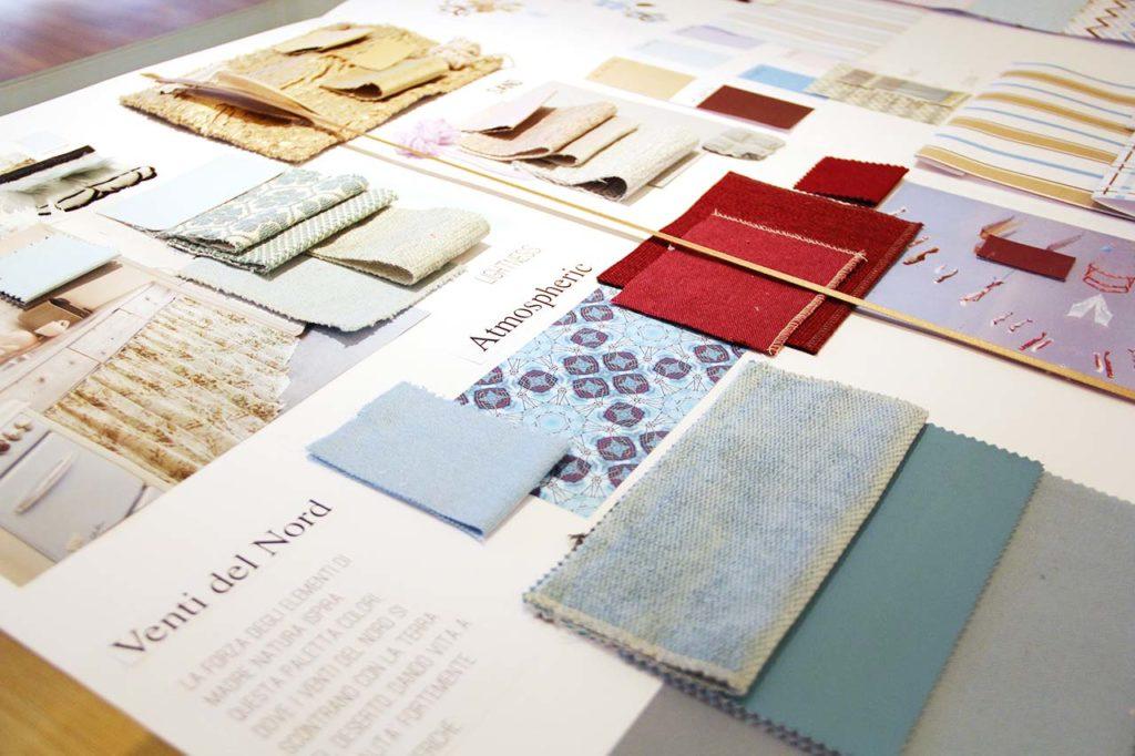 moodboard creativa toni del blu e fucsia per tessile casa