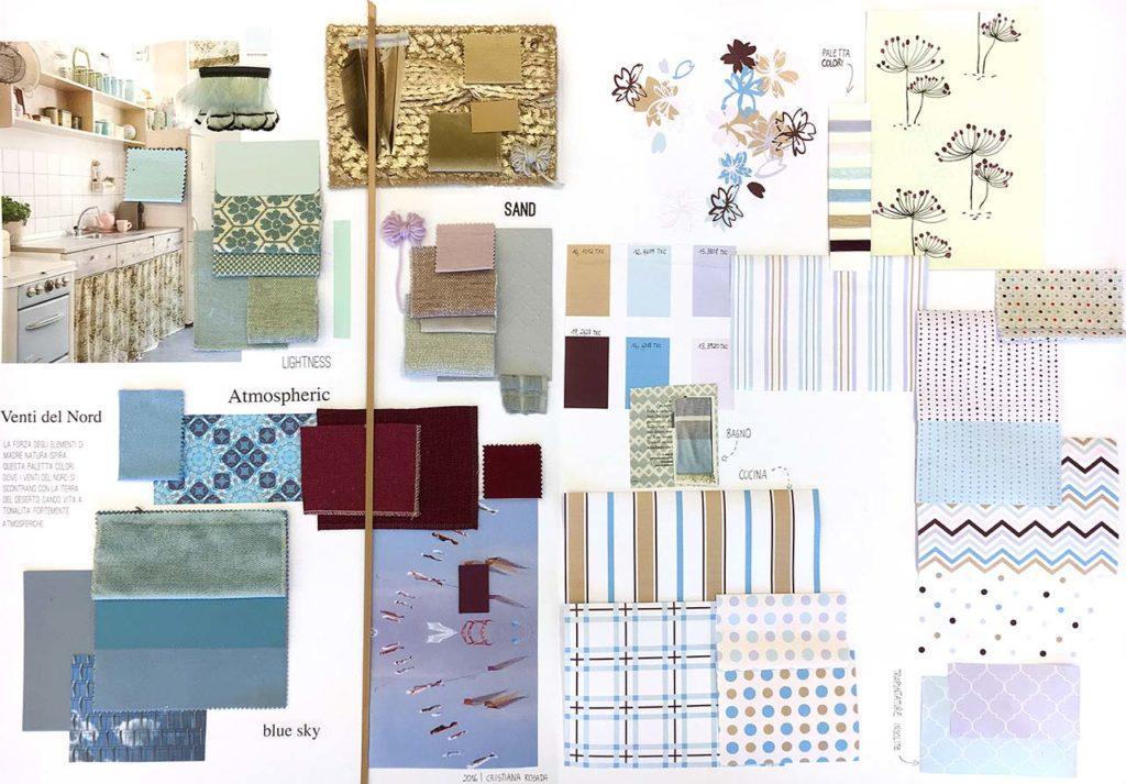 moodboard creativa toni del azzurro per tessile casa