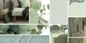 moodboard creativa toni del verde menta per arredamento
