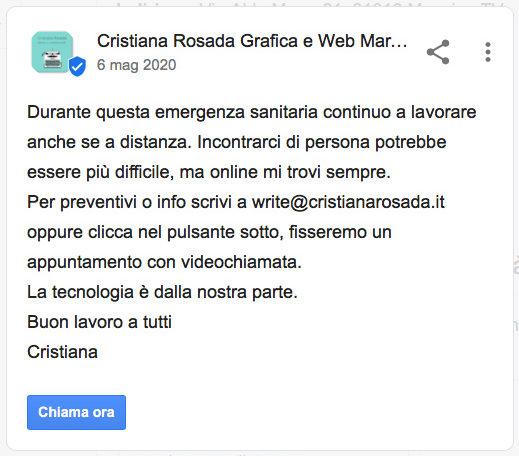 esempio di post nella scheda google business