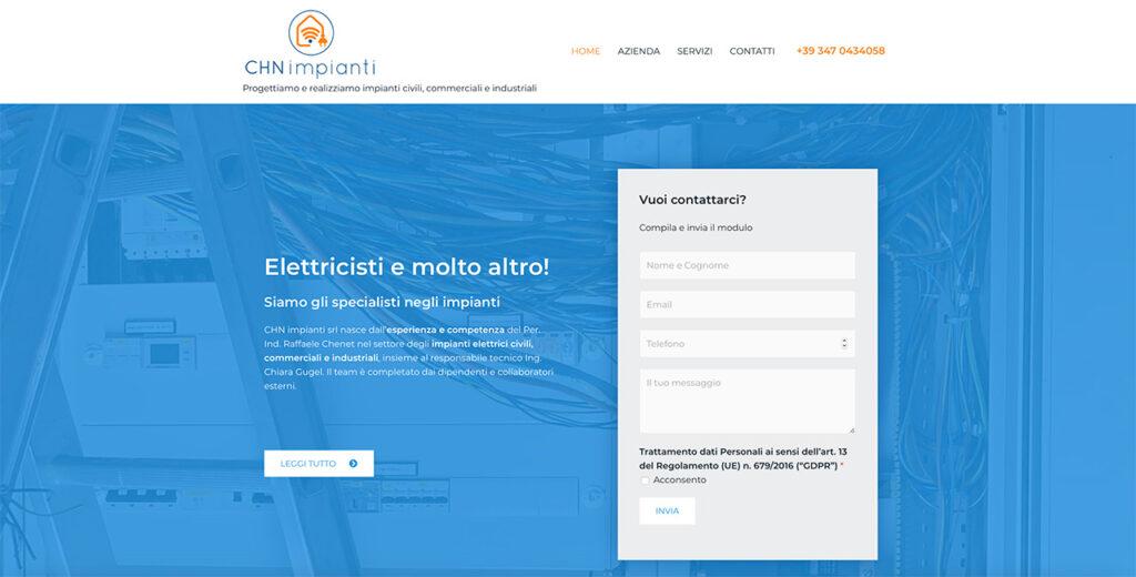 sito web elettricista a Treviso esempio